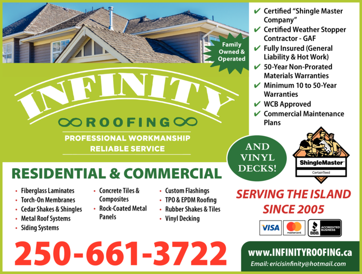 Yellow Pages Ad of Infinity Roofing