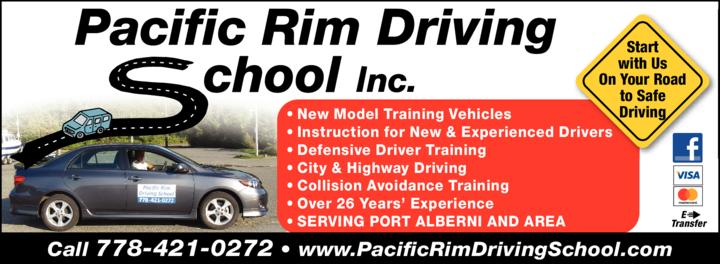 Print Ad of Pacific Rim Driving School Inc