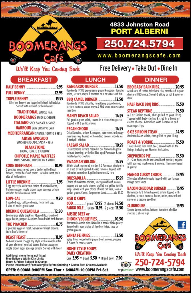 Print Ad of Boomerangs Café