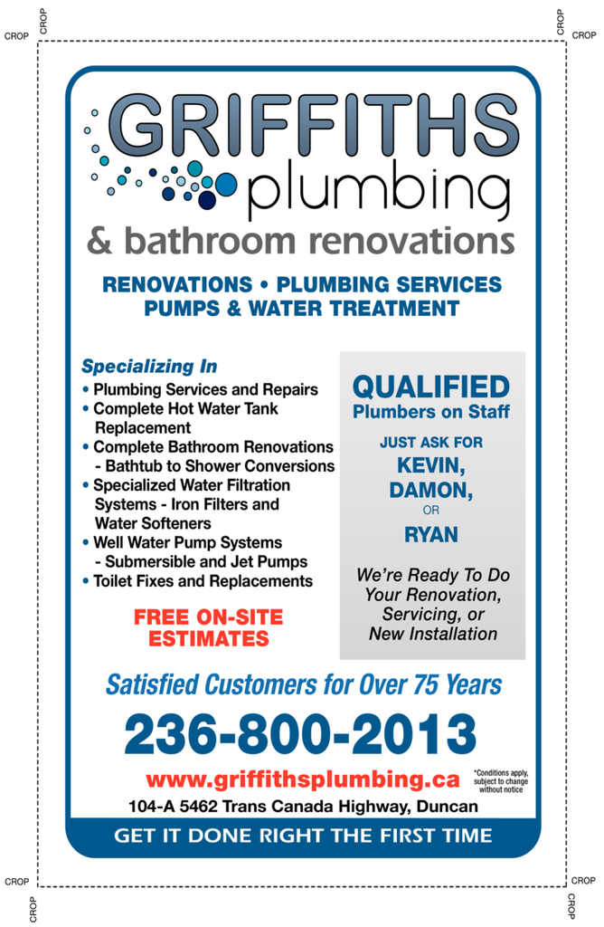 Yellow Pages Ad of Griffiths Plumbing