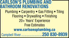 Yellow Pages Ad of Carlson's Plumbing And Bathroom Renovations