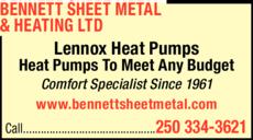 Print Ad of Bennett Sheet Metal & Heating Ltd