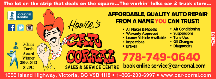 Yellow Pages Ad of Howie's Car Corral
