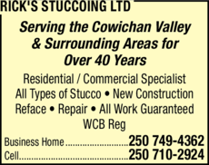 Yellow Pages Ad of Rick's Stuccoing Ltd