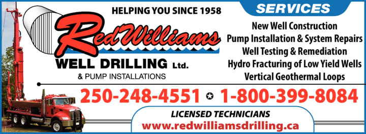 Print Ad of Red Williams Well Drilling Ltd
