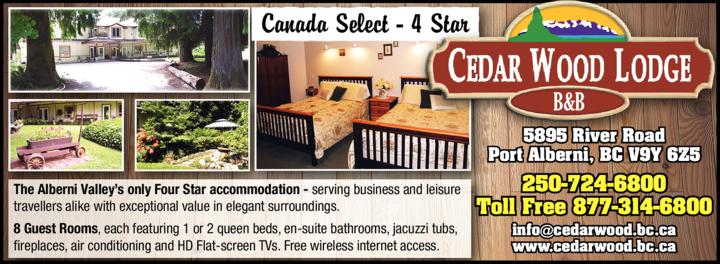 Print Ad of Cedar Wood Lodge B & B Inn
