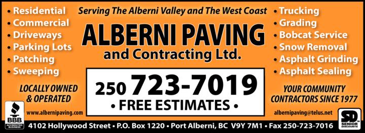 Print Ad of Alberni Paving & Contracting Ltd