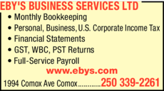 Print Ad of Eby's Business Services Ltd