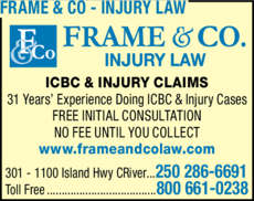 Print Ad of Frame & Co - Injury Law