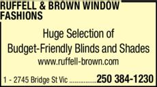 Print Ad of Ruffell & Brown Window Fashions